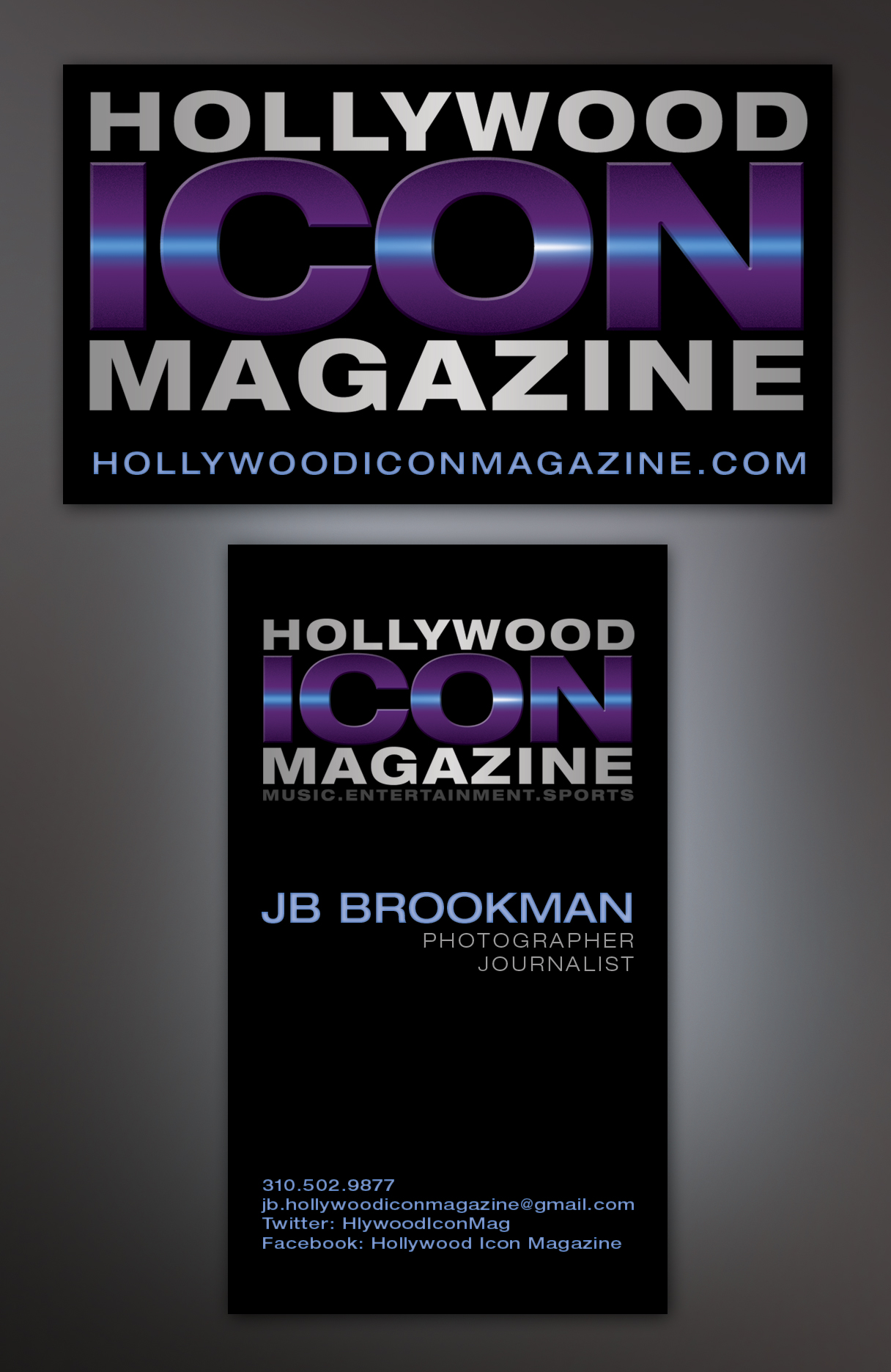 Hollywood icon magazine business card design by jen brookman jb at hollywood icon magazine just received his business cards in the mail which i designed for him last friday its fun to see your marketing concepts colourmoves