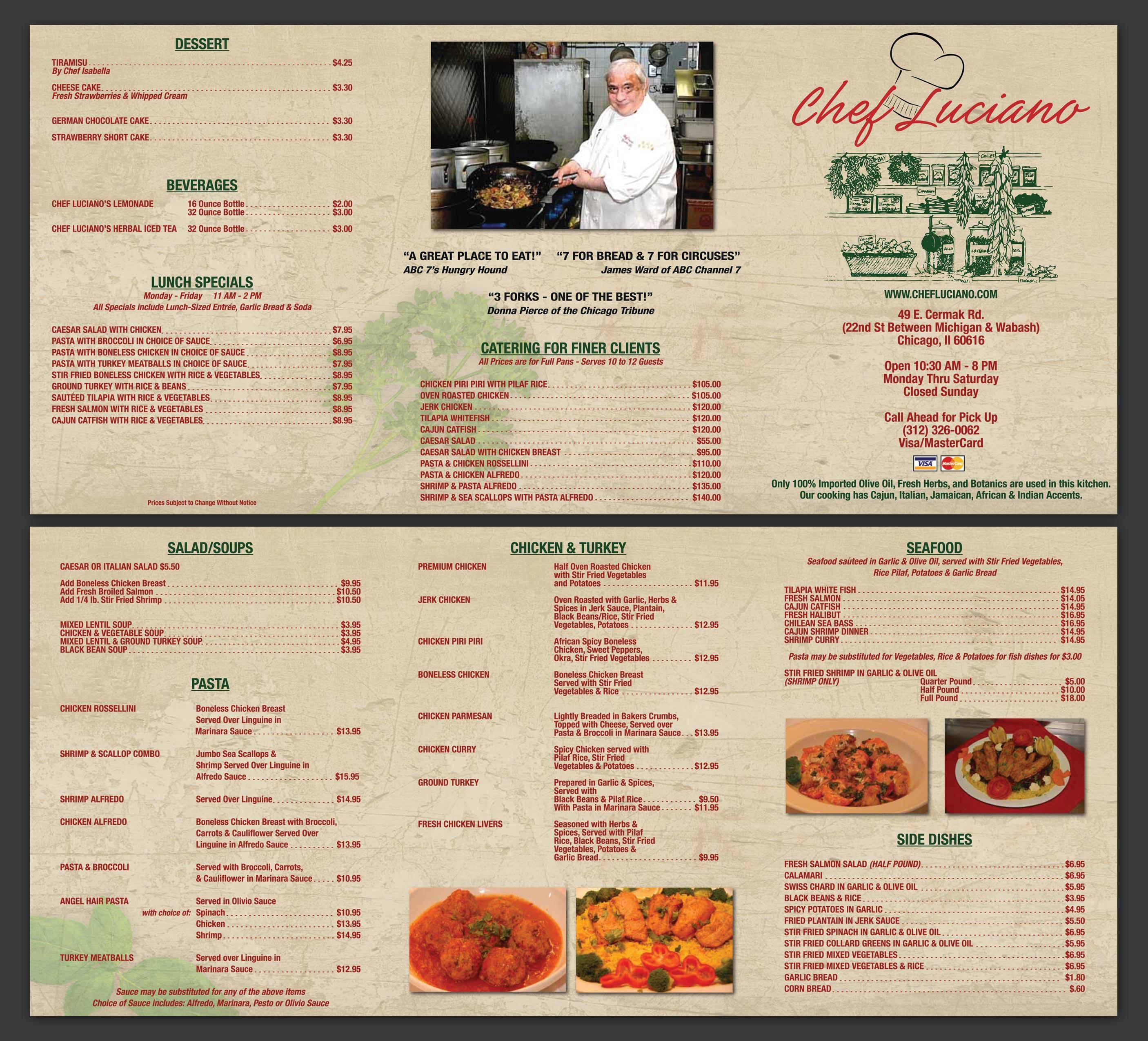 Chef Luciano Menu Design Nashville Graphic Designer