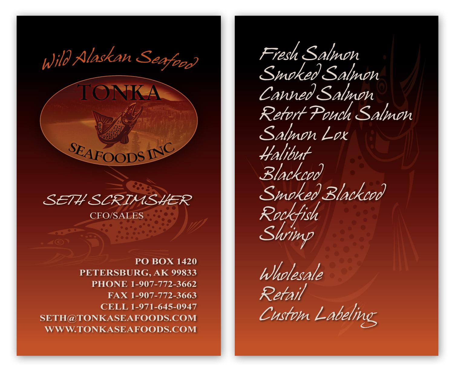 Tonka seafoods business cards nashville graphic designer published june 14 2010 categories business card design reheart Gallery
